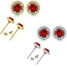 5mm Garnet Birthstone Gem Stud Halo Solitaire Round Silver Earrings