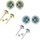 5mm Aquamarine Birthstone Gem Stud Halo Solitaire Round Silver Earrings