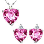 Pink Topaz Heart Gem Stone Set Pendant Earring 14K White Yellow Gold Diamond