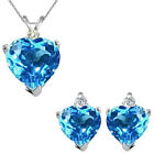 Blue Topaz Heart Gem Stone Set Pendant Earring 14K White Yellow Gold Diamond