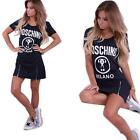 Chic Womens Short Sleeve Sexy Mini Dress Long Tops Blouse T Shirt Grey/Black Z