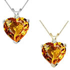 0.01 Carat Diamond Heart Citrine Gemstone Pendant Necklace 14K White/Yellow Gold
