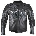 Mens $329 3 Flaming Skulls Reflective Leather Armored Motorcycle Biker Jacket
