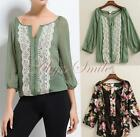 Fashion Women Lady Lace Floral Print Top Blouse 3/4 Sleeve Chiffon Casual TShirt