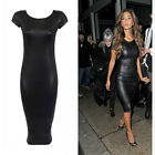 Women Ladies Faux Leather Cap Sleeve Bodycon Strenth Wet Look Midi Party Dress