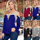 Women V Neck Long Sleeve Off Shoulder Shirt Casual Loose Lace Blouse Top T Shirt