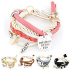 Women Lady Jewelry Multilayer Pearl Chain Pendant Bangle Multi Style Bracelet