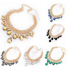 Womens Fashion Jewelry Pendant Chain Crystal Choker Statement Bib Necklace New