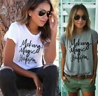 Sexy Womens Summer Letters printed round neck short sleeve T-shirt Blouse B20E