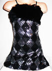 GIRLS BLACK & SILVER HARLEQUIN SEQUIN FUR TRIM EVENING DISCO DANCE PARTY DRESS