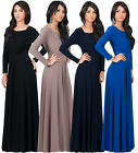 NEW Womens Elegant Long Sleeve Round Neck Plus Size Long Maxi Dress XS S M L XL