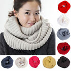 Unisex Infinity Two Circle Cable Knit Cowl Neck Long Scarf Shawl Winter Warm New
