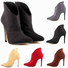 Womens High Heels Stiletto Ankle Boots Faux Velvet Leather Shoes US Size 4-11