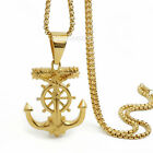 Men Gold Jesus Pirate Anchor Cross Biker Pendant Stainless Steel Chain Necklace