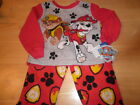 New Paw Patrol Boys Rubble Chase Red Gray Fleece Pajamas Sleepwear 3T 4T 5T