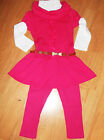 GIRLS 3 PIECE CERISE PINK ROSETTE TRIM WINTER DRESS TOP & LEGGING with BELT