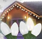 25 Ceramic Style Opaque Cool White LED Retro Style C7 Christmas Lights - Green W