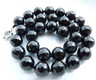 Rare Handmade Pure Black Freshwater Cultured Agate Necklace 18'' AAA+