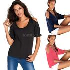 Women's Short Sleeve T-Shirt Tee Top Cold Shoulder Blouse Fashion Summer S1A5
