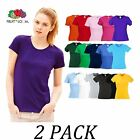 2-PACK-Fruit Of The Loom tshirts Tops-Lady Fit Original Tee T shirt