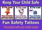 SAFETY TATTOOS X 24 custom personalised LOST CHILD shopping safe wrist armband