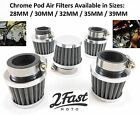 Short Chrome Clamp On Air Filter Cleaner POD Tomos Sachs Scooter Moped Washable $9.86 USD on eBay