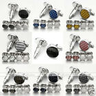 Elegant Gentleman Men's Shirt Silver Steel Enamel Cuff Links Studs Wedding Party