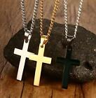 Women Mens Black Gold Silver Stainless Steel Cross Pendant Fashion Necklace New