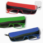 NEW RUBBERISED READING GLASSES COMPACT TUBE ZIP CASE - MANY COLOURS +1.0 to +3.5