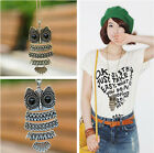 Lady Women Vintage Bronze/Silver Long Chain Owl Pendant Necklace Gift For XMAS A