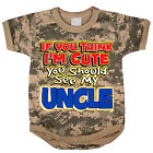 Uncle funny saying baby tee shirt infant one piece body suit army digital camo