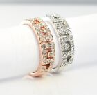18K White Gold Filled Ring made with Swarovski Crystal Xmas Size L O Q S R117