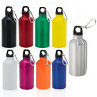 400ml Aluminium Fluorescent Water Bottle Drink Sports Colour with Carabiner NEW