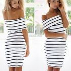 Women Fashion Casual Off-shoulder Stripe Mini Bodycon Slim Midi Dress S0BZ