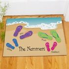 Personalized Flip Flops Family Doormat  Summer Beach Family Welcome Doormat