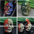 Women Girl New Skull Rhinestone Crystal Glass Finger Ring Adjustable Gift US 7