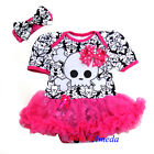 Halloween Baby Hot Pink Damask Pirate Tutu Bodysuit Romper Pettiskirt Dress