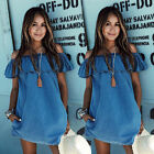 Off Shoulder Blue Denim Casual Street New Womens Summer Mini Holiday Beach Dress