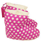 Ladies Womens Pink White Spots Duvet Ducks Feathered Boot Slippers Size UK 3 - 8