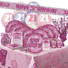AGE 21/21ST BIRTHDAY PINK GLITZ PARTY RANGE (Balloon/Decoration/Banner/Napkins)