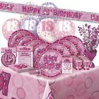 AGE 18/18TH BIRTHDAY PINK GLITZ PARTY RANGE (Balloon/Decoration/Banner/Napkins)