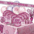AGE 16/16TH BIRTHDAY PINK GLITZ PARTY RANGE (Balloon/Decoration/Banner/Napkins)
