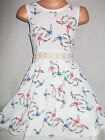 GIRLS 50s STYLE WHITE BIRD PRINT LACE TRIM FLARED SKATER PARTY OCCASION DRESS