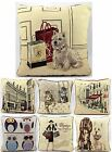 "LUXURY TAPESTRY CUSHION COVER 18"" x 18"" SCOTTIE DOG CITY SCENE OWL CATS"