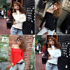 Sexy Off Shoulder Womens Crop Tops Tight Fitted Blouse Long Sleeve Nightclub