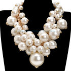US Ship Cluster Necklace Fashion Jewelry Big Resin Pearl Bib Statement Luxury