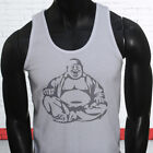 Praying Religion Peace Love Happy Meditation Laughing Buddha Mens White Tank Top