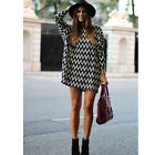 Sexy Summer Women Casual Wave Stripe Loose Evening Party Short Mini Dress Shirt