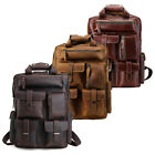 Tiding Genuine Cowhide Leather Hiking Travel Backpack Luggage Carry Tote Bag