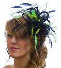 Navy Blue & Lime Green Fascinator Hat/ any satin/highlight feather colour